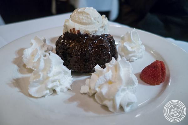 Molten chocolate cake at Hudson Tavern in Hoboken, NJ