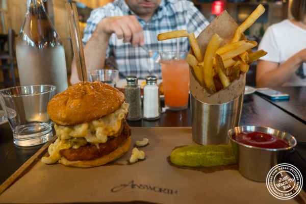 The Mac and Cheese burger at The Ainsworth in NYC, New York