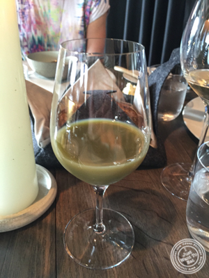 Turnip and green strawberries juice at Noma in Copenhagen, Denmark