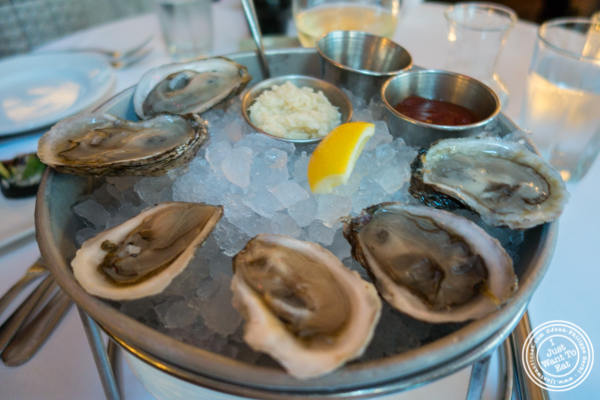 East coast West coast oysters at Blue Water Grill in NYC, New York