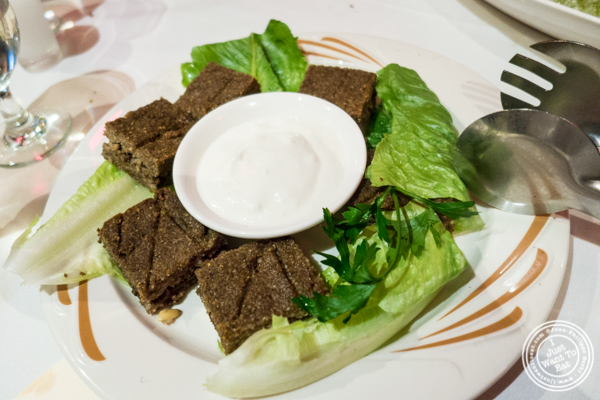 Baked kibbee at Byblos, Lebanese restaurant in NYC, New York