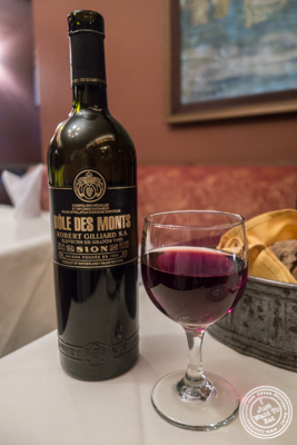 Dole Des Monts Swiss wine at Maria's Mont Blanc in The Theater District, NYC, New York