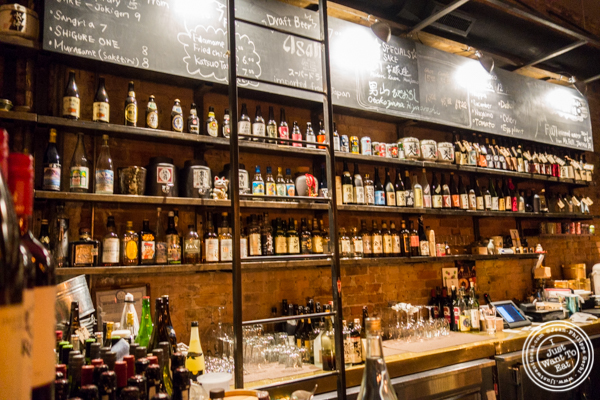Bar at Sake Bar Shigure in Tribeca, NYC, New York