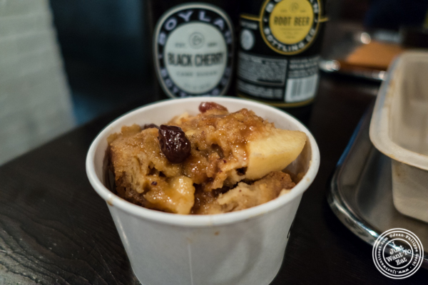 Apple bread pudding at Mighty Quinn's BBQ in NYC, New York