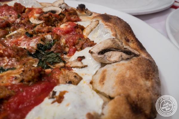 Regular pie with meatballs and mushroom at Grimaldi's Pizza in Hoboken, NJ