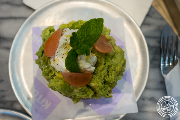 Edamame and avocado toast at Dominique Ansel Kitchen in NYC, New York