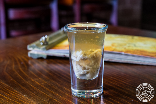 Oyster shooter at Off The Hook, Raw Bar and Grill in Astoria, Queens