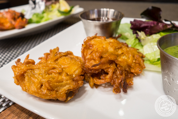 Onion bhaija or onion fritters at Surya, Indian restaurant on Bleecker, NYC, New York