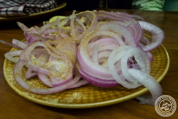 red onions at Bukhara in Delhi, India