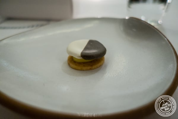 Savory black and white cookie at Eleven Madison Park in NYC, New York