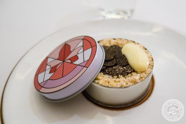 Cauliflower benedict with black truffle at Eleven Madison Park in NYC, New York