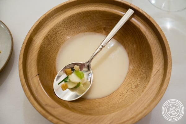 Waldorf salad as a soup at Eleven Madison Park in NYC, New York