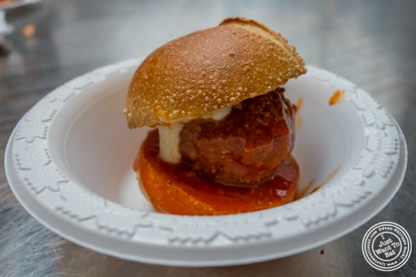 Turkey meatball with buffalo sauce from The Meatball Guys at The Gansevoort Market in the Meat Packing District