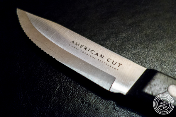 Steak knife at American Cut in TriBeCa, NYC, New York