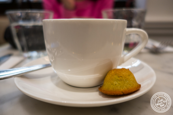 Double espresso and financier at Maison Kayser Bryant Park, NYC, New York