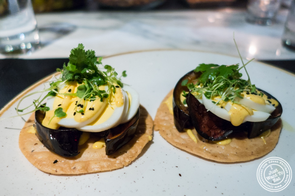 Sabich tostada at Combina in TriBeCa, NYC, New York