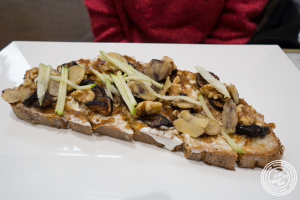 Goat cheese and figs tartine at Maison Kayser in the West Village, NYC, New York