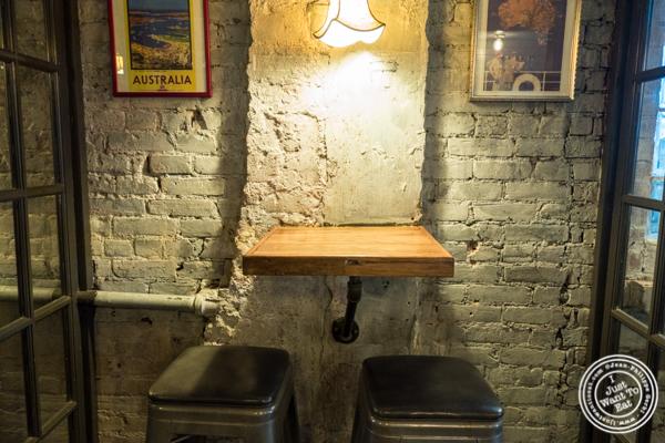 Tables in bar area at Burke and Wills, Upper West Side, NYC, New York