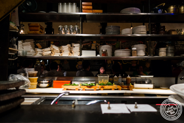 Open kitchen at Takashi in NYC, New York