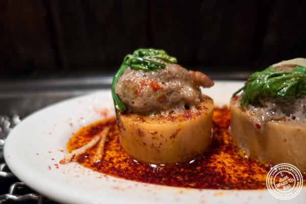 Bone marrow and craw fish dumplings at Takashi in NYC, New York