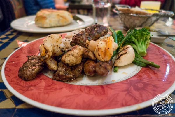 Combination kebab platter at Salam café in Greenwich Village, NYC