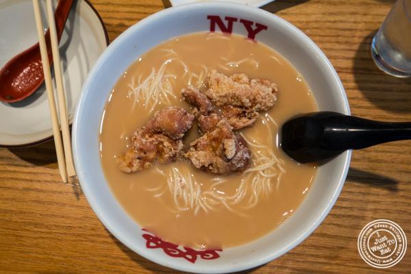 Tonkotsu ramen with fried chicken at Katsu Hama in NYC, New York