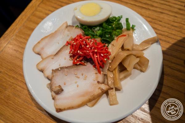 Toppings for the tonkotsu ramen at Katsu Hama in NYC, New York