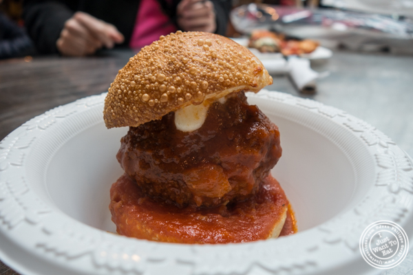 Beef meatball with ragu from The Meatball Guys at The Gansevoort Market in the Meat Packing District