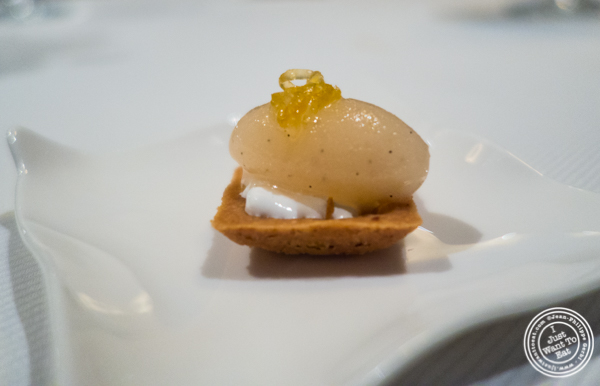 Sable with grapefruit meringue and champagne sorbet at Jean-Georges in NYC, New York