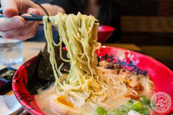 Thick-wavy noodles in Zonbunose ramen at Ramen Zundo-Ya in NYC, New York