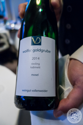 Riesling , Cabinet, Vollenweider Wolfer Goldgrube, Mosel, Germany 2014 at Jean-Georges in NYC, New York