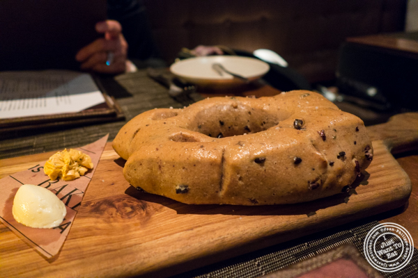 Olive and rosemary fougasse at Print Restaurant in the Ink48 Hotel, NYC