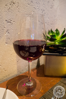 Glass of Pinot Noir, Andrew Rich, Oregon 2013 at Print Restaurant in the Ink48 Hotel, NYC