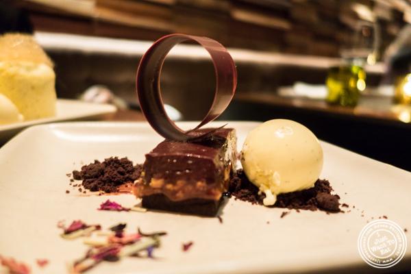 Chocolate hazelnut torte at Print Restaurant in the Ink48 Hotel, NYC