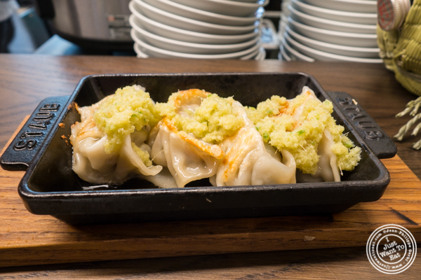 Tsetsunabe pork gyoza at Momosan Ramen and Sake in NYC, New York