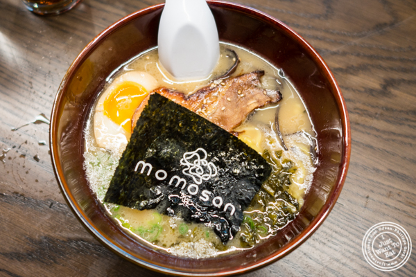 Tonkotsu ramen at Momosan Ramen and Sake in NYC, New York