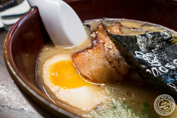 Egg and pork in tonkotsu ramen at Momosan Ramen and Sake in NYC, New York