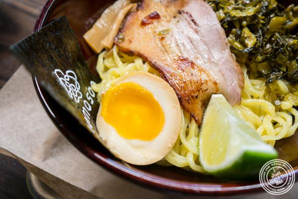 Egg and pork in Tsukemen ramen at Momosan Ramen and Sake in NYC, New York