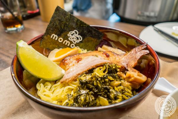 Noodles in Tsukemen ramen at Momosan Ramen and Sake in NYC, New York