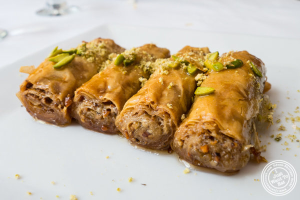 Homemade baklava at Pars Grill House and Bar in NYC, New York