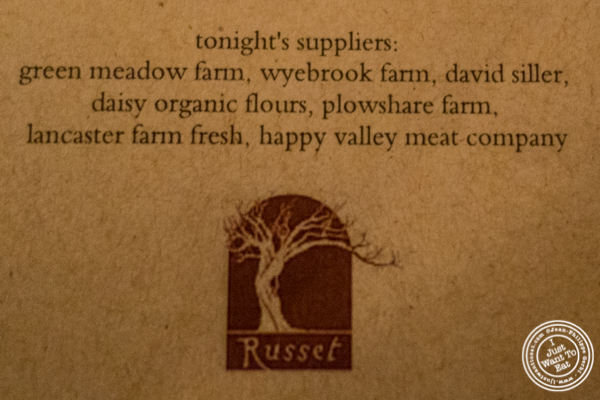 Purveyors of tonight's menu at Russet in Philadelphia, PA