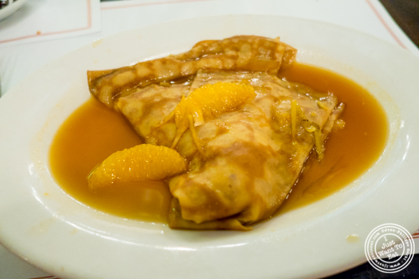 Crêpe suzette at Cafe 123 in Times Square, NYC