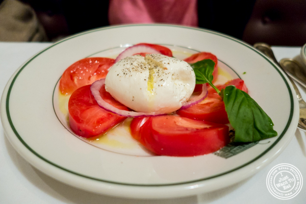 Burrata and tomato salad at Smith and Wollensky in NYC
