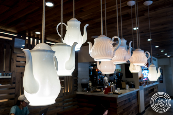 Tea pots lamps at Padoca on the Upper East Side, NYC
