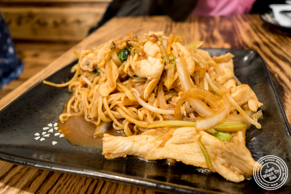 Noodles with chicken at KungFu Kitchen in Times Square, NYC