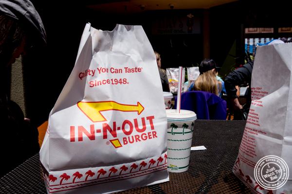 Burgers, fries and milkshake at In-N-Out Burger in San Francisco, CA