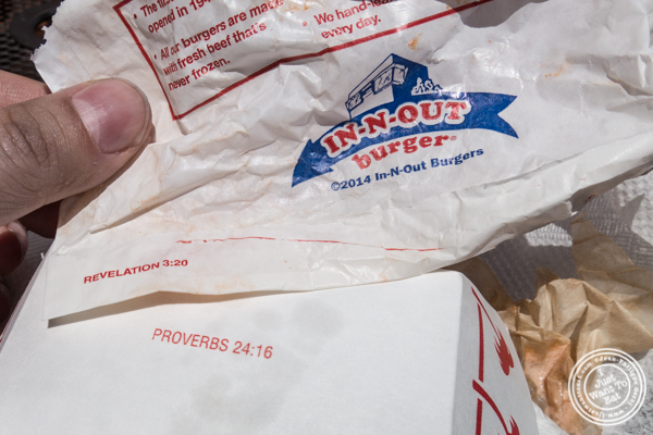 Bible verses on packaging of In-N-Out Burger in San Francisco, CA