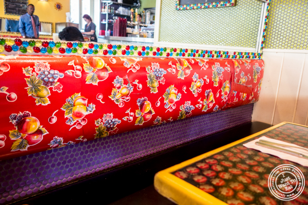 Colorful banquette at El Centro in Hell's Kitchen, NYC