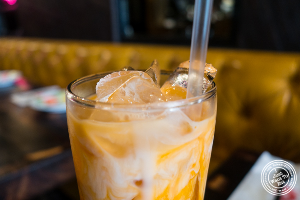 Thai Iced Tea at Esanation, Thai restaurant in Hell's Kitchen, NYC