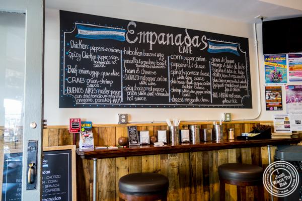 Menu at Empanadas Café in Hoboken, NJ
